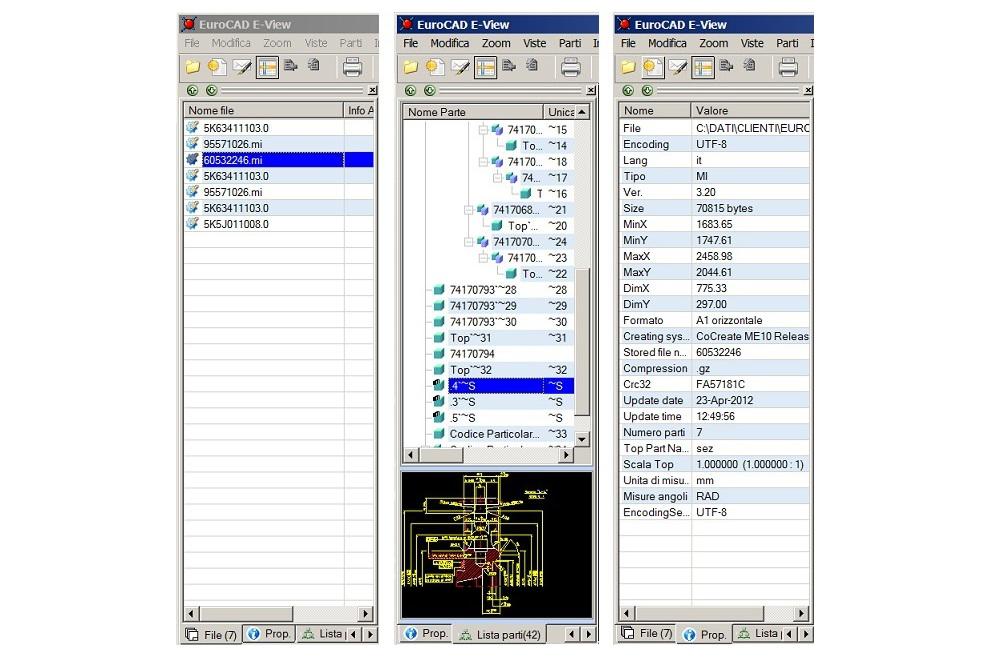 E-View interfacce proprietà file