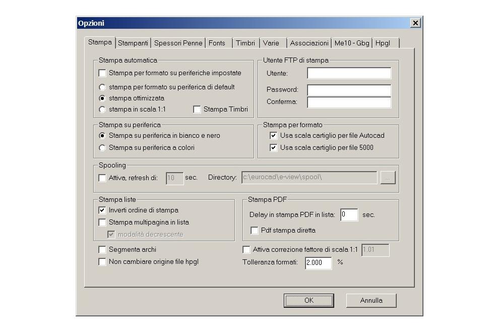 E-View opzioni stampa